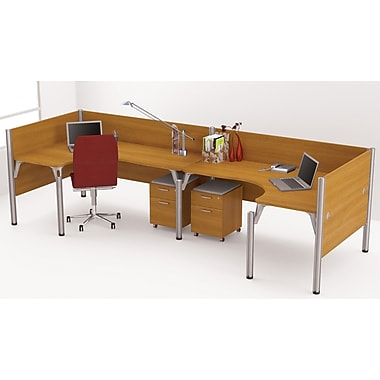 Bestar Pro-Biz Office System Double Back-to-Back L-Desk Workstation, 3/4 Wall, Cappuccino Cherry