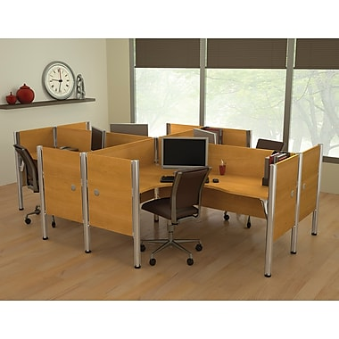 Bestar Pro-Biz Office System Quad Four L-Desk Workstation, Additional Privacy Panels, 3/4 Wall, Cappuccino Cherry