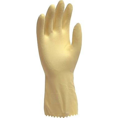 Ambitex Flocklined Work Gloves, Latex, Medium, Yellow, 12 Pairs/Box