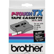 "Brother 1/2"" White on Black  tape"
