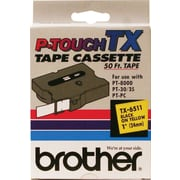 "Brother® TX Series Laminated Label Tape, 1"" x 50', Black on Yellow"
