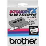 "Brother® TX Series Laminated Label Tape, 1/2"" x 50', Black on White"