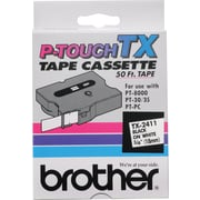 "Brother® TX Series Laminated Label Tape, 3/4"" x 50', Black on White"
