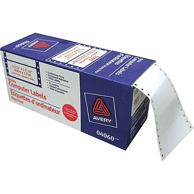 Avery® 4060 White Dot Matrix Labels, 3-1/2