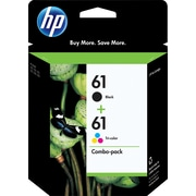 HP 61 Black/Tri-color Original Ink Cartridges, Multi-pack (2 cart per pack)