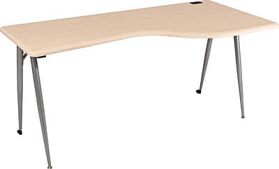 Balt® iFlex ™ Modular Desking System Right Rectangle, Teak/Silver
