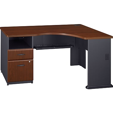 Bush Business Cubix Single Pedestal Corner Desk, Hansen Cherry/Galaxy