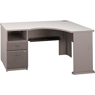 Bush Business Cubix Single Pedestal Corner Desk, Pewter/White Spectrum