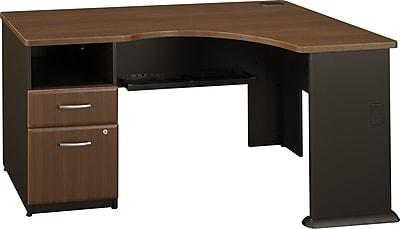 Bush Business Cubix Single Pedestal Corner Desk, Cappuccino Cherry/Hazelnut Brown, Installed