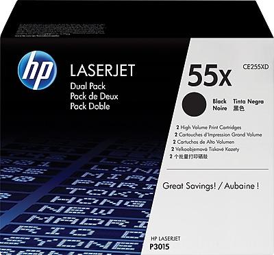 HP 55X (CE255XD) Black High Yield Original LaserJet Toner Cartridges, Multi-pack (2 cart per pack)