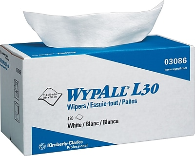 Kimberly Clark® WypAll® L30 Wipers in a Pop up Box, White, 10 Packs/Case