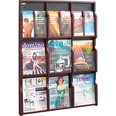 Safco Expose® Wood Displays, 9 Magazine, 18 Pamphlet, Mahogany, 38 1/4
