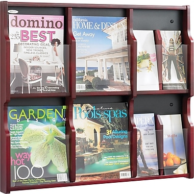 Safco Expose® Wood Displays, 6 Magazine, 12 Pamphlet, Mahogany/Black, 26 1/4