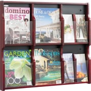 "Safco Expose® Wood Displays, 6 Magazine, 12 Pamphlet, Mahogany/Black, 26 1/4""H x 29 3/4""W x 2 1/2""D"