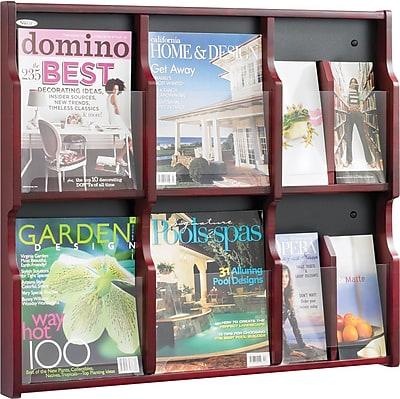 Safco Expose® Wood Displays, 6 Magazine, 12 Pamphlet, Mahogany/Black, 26 1/4