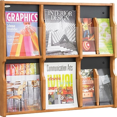 Safco® 8-Pocket Solid Wood Magazine/Pamphlet Display, Medium Oak