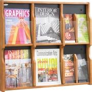 Safco® 8-Pocket Solid Wood Magazine/Pamphlet Display, Medium Oak