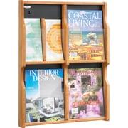 Safco 4-Pocket Solid Wood Magazine/Pamphlet Display, Medium Oak