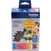 Brother LC75CL Color Ink Cartridges, High Yield 3/Pack