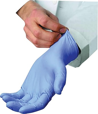 Ambitex® Powdered Disposable Nitrile Gloves, Light Blue, Small