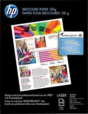 """HP Color Laser Brochure Paper, 8 1/2"""" x 11"""" Glossy, 150"""