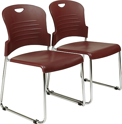 Office Star™ Sled-Base Stacking Chair, Burgundy, 2/Pack