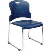 Office Star™ Sled-Base Stacking Chair, Navy, 2/Pack
