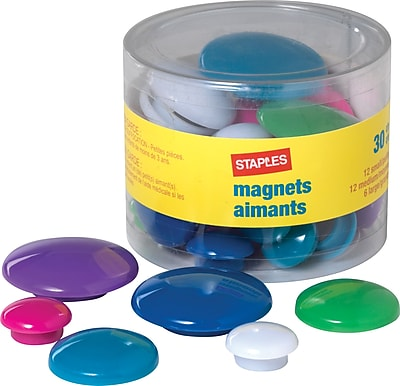 Staples Assorted Size/Color Magnets (40085-CC)
