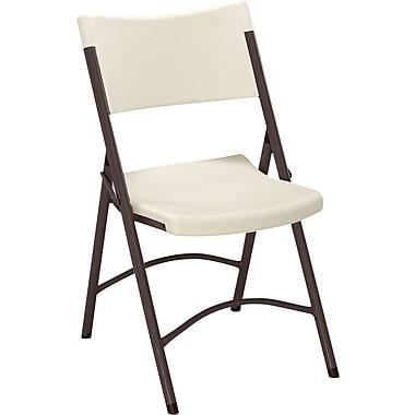 Sudden Comfort™ Blow Mold Textured Folding Chair, Cream/Mocha, 4/Pack