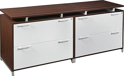Regency® OneDesk Collection Double Lateral Credenza, Java/White Finish