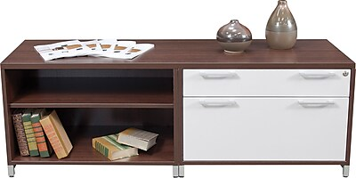 Regency® OneDesk Collection Low Lateral Credenza, Java/White Finish