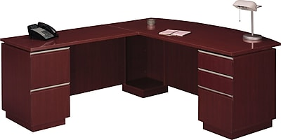 Bush Business Furniture Milano2 72W X 36D Bowfront Desk Left Hand L-Station, Harvest Cherry (50DLL72CSKFA)
