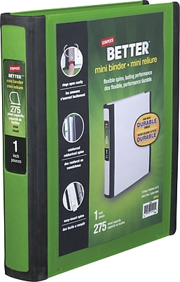 Staples Better Mini 1-Inch D 3-Ring View Binder, Green (20943)