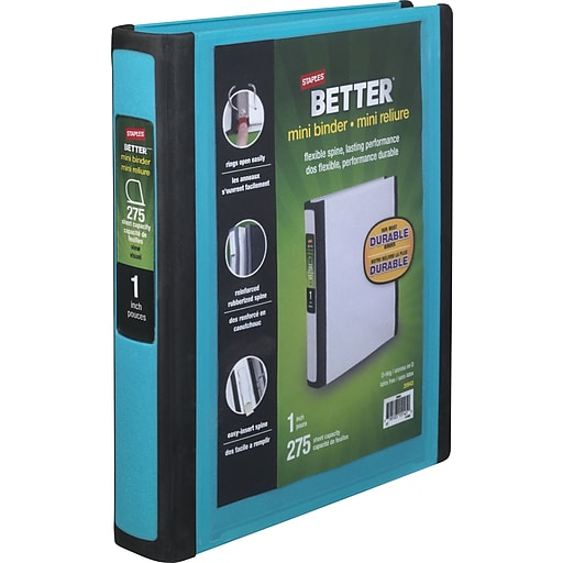 staples better mini 1 inch d 3 ring view binders teal 20948 staples
