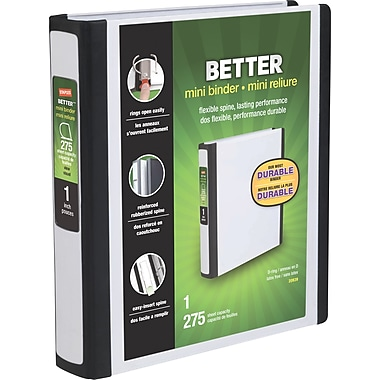 Staples Better Mini 5.5 x 8.5 Inch 3-Ring View Binder, White (20949)