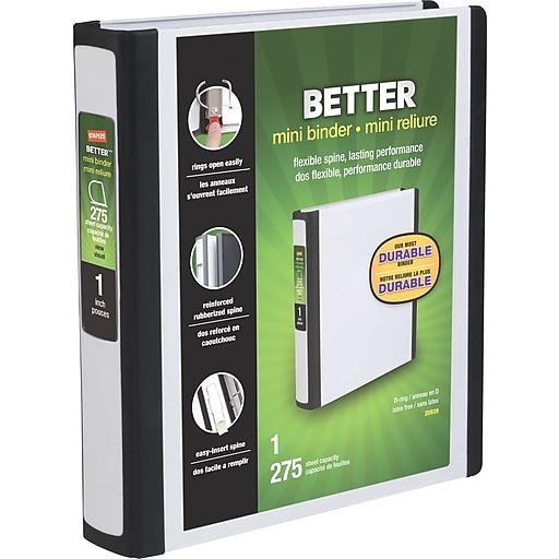 staples better mini 5 5 x 8 5 inch 3 ring view binder white 20949