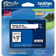 "Brother® TZe Series Tape, 1/2"", Black Lettering on White Label Tape"