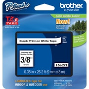 "Brother® TZe Series Tape, 3/8"", Black Lettering on White Label Tape"