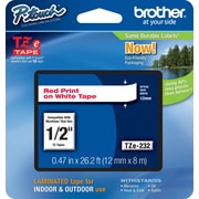 "Brother® TZe Series Tape, 1/2"", Red Lettering on White Label Tape"