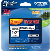 "Brother® TZe Series Tape, 1/2"", Black Lettering on White Label Tape, 2-Pack"