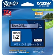 "Brother® P-Touch TZe Series Tape, 1/2"", Black Lettering on Clear Label Tape"