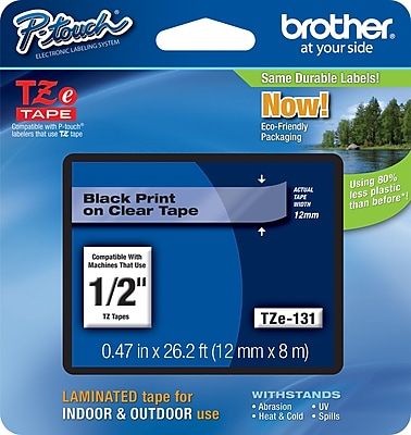 Brother Genuine P-touch M-131 Tape Single-Pack 1//2 for Indoor Use Black on Clear 26.2 Feet Standard P-touch Tape Water Resistant 0.47 8M