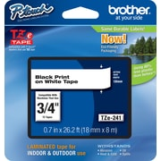 "Brother® TZe Series Tape, 3/4"", Black Lettering on White Label Tape"