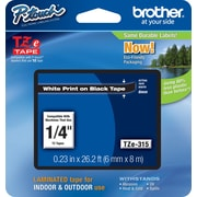 "Brother TZe-315 1/4"" P-Touch Label Tape, White on Black"