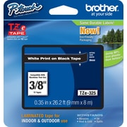 "Brother® TZe Series Tape, 3/8"", White Lettering on Black Label Tape"