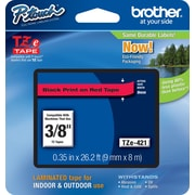 "Brother® TZe Series Tape, 3/8"", Black Lettering on Red Label Tape"