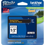 "Brother® TZE Series Tape, 1/2"", Gold Lettering on Black Label Tape"