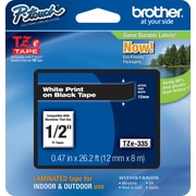 "Brother® TZe Series Tape, 1/2"", White Lettering on Black Label Tape"