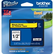 "Brother® TZe Series Tape, 1/2"", Black Lettering on Yellow Label Tape"