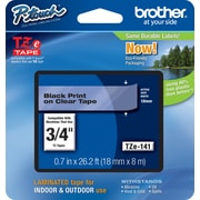 "Brother® TZe Series Tape, 3/4"", Black Lettering on Clear Label Tape"